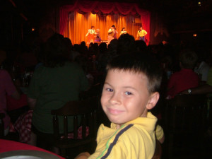 My son enjoying the show.