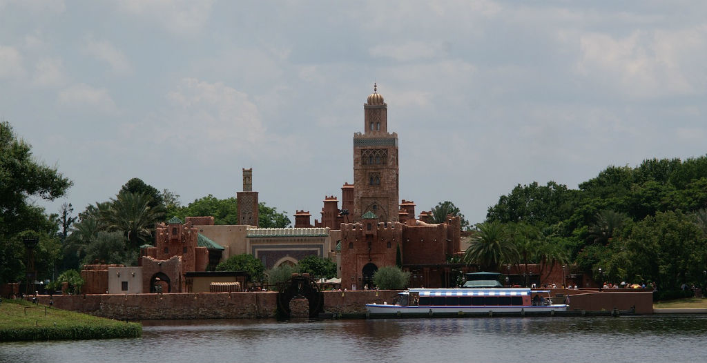 The Morocco pavilion, seen from the World Showcase lagoon, before the new Spicy Road restaurant.