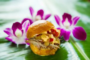 Hawaiian Barbecue Hits the Spot - The Kalua Pork Slider (not the liqueur Kahlua but the Kalua barbecue method of cooking) returns to the Hawaii Marketplace at the Epcot International Food & Wine Festival at Walt Disney World Resort in Lake Buena Vista, Fla. (Matt Stroshane, photographer)