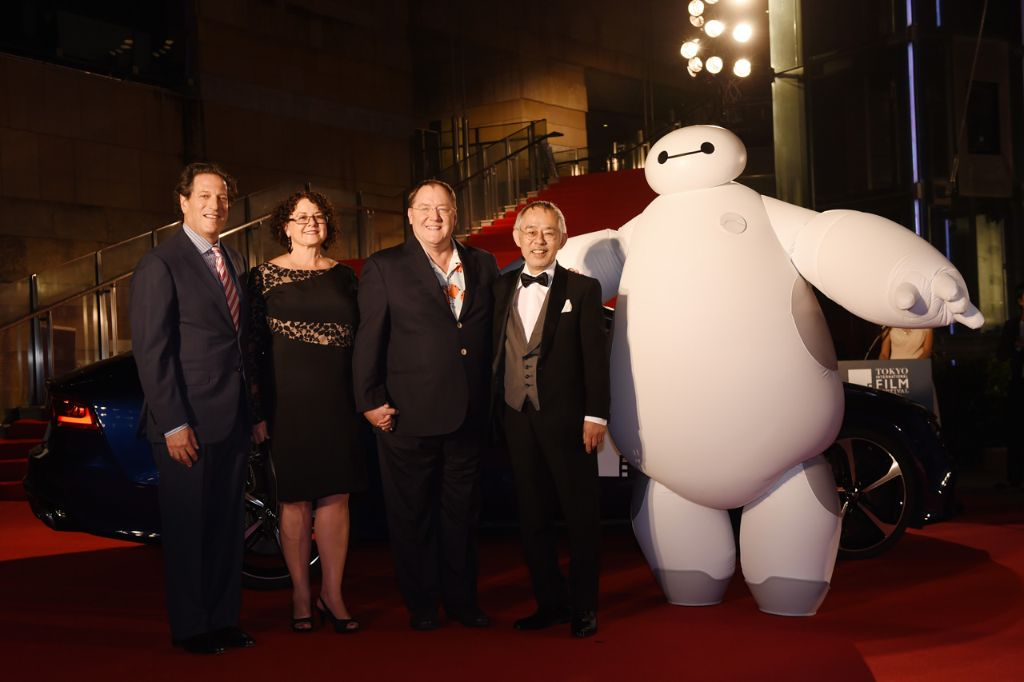 "General Manager of Walt Disney Animation Studios - Andrew Millstein, Nancy Lasseter, Chief Creative Officer of Walt Disney and Pixar Animation Studios - John Lasseter and Studio Ghibli producer Toshio Suzuki arrive at the ""Big Hero 6"" Japan premiere during the 27th Tokyo International Film Festival at Roppongi Hills on October 23, 2014 in Tokyo, Japan.  (Photo by Atsushi Tomura/Getty Images for Disney)"