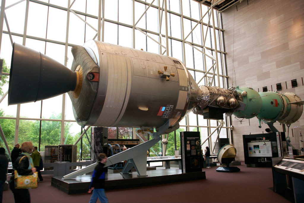 At the National Air and Space Museum in Washington, DC, you can see a full size tribute to the Apollo-Soyouz mission (officially ASTP for Apollo-Soyouz Test Project). On the left, the American Apollo spacecraft, and on the left the Soviet Soyuz. The conical section of this display is the authentic capsule that did the mission in 1975.