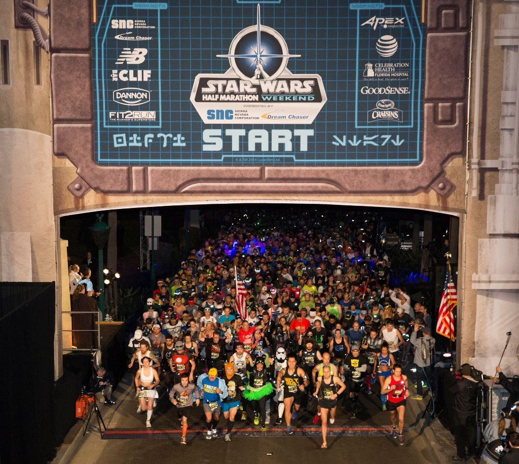 More than 12,200 runners participated in the new 13.1-mile intergalactic journey through Disneyland and Anaheim area streets where a variety of Disney entertainment, including Star Wars characters, cheered on runners at every mile. The Star Wars race weekend kicked off with the Star Wars Wookiee Welcome Party, a private event that featured character meet-and-greets, entertainment, a dessert reception and an opportunity to ride select attractions, such as Space Mountain and Star Tours – The Adventures Continues, Astro Orbitor, and Buzz Lightyear Astro Blaster.