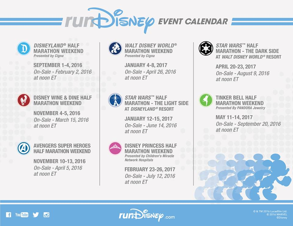 Rundisney 2016 2017 Event Calendar Is Here