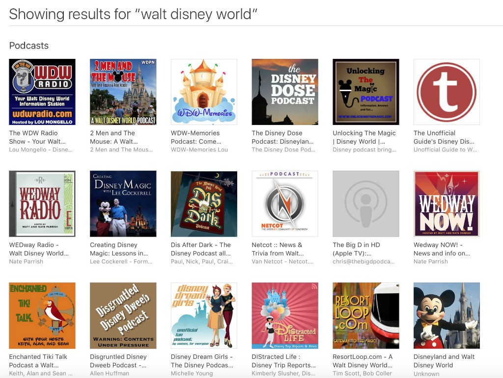 iTunes Disney podcast search results