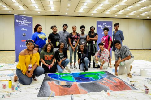 students create mural w disney imagineer
