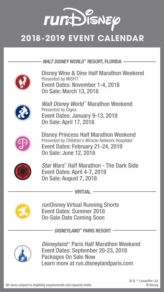 rundisney 2018 2019 race calendar