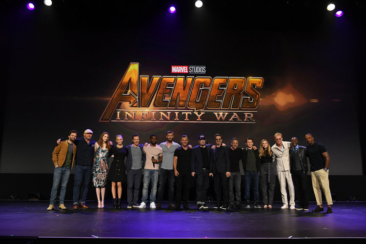 SEBASTIAN STAN, DAVE BAUTISTA, KAREN GILLAN, POM KLEMENTIEFF, BENEDICT CUMBERCATCH, CHADWICK BOSEMAN, CHRIS HEMSWORTH, JOSH BROLIN, KEVIN FEIGE (PRESIDENT OF MARVEL STUDIOS), ROBERT DOWNEY JR., MARK RUFFALO, TOM HOLLAND, ELIZABETH OLSEN, PAUL BETTANY, DON CHEADLE, ANTHONY MACKIE