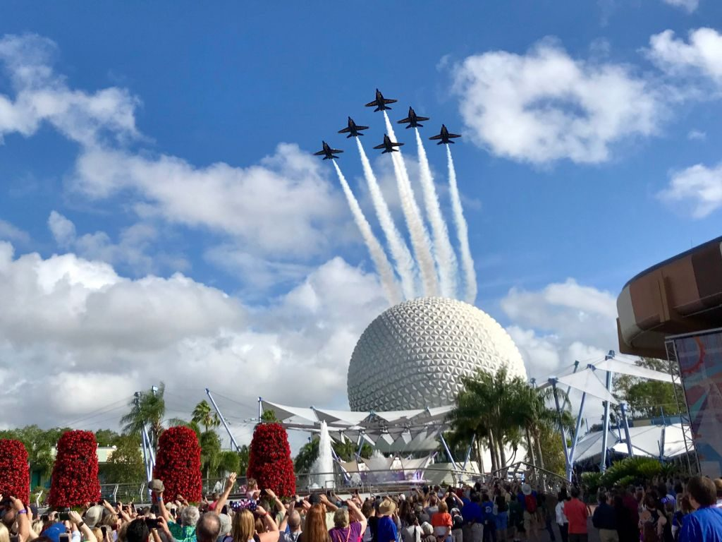 United States Navy Blue Angels Fly Over Epcot